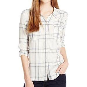 PAIGE Mya Shirt Plaid, White/Dusky Blue/Rose Tan L